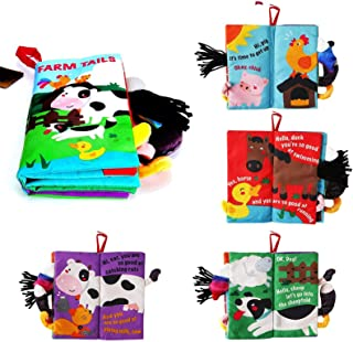 Beiens Quiet Toddler Books, 3D Tail Crinkly Book, Farm Tails Touch and Feel Ultra Soft Baby Cloth Books for Baby Toddler L...