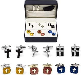 MRCUFF Cross Crosses Christian 6 Pairs Cufflinks with a Presentation Gift Box and Polishing Cloth