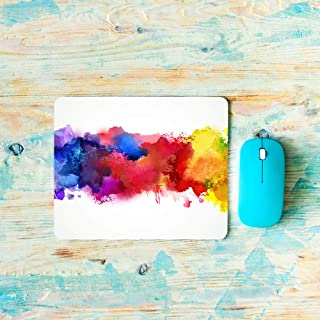 AOYEGO Watercolor Mouse Pad Splash Spotted Grain Colorful Messy Blot Rainbow Drop Artistic Modern Gaming Mouse Pad Non-Sli...