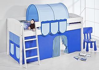 Lilokids IDA 4106 Lit Mezzanine à système Divisible en Bleu avec Rideau pour lit d'enfant en Bois 208 x 98 x 113 cm