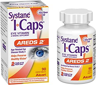 Systane ICaps Eye Vitamin & Mineral Supplement, AREDS 2 Formula, 90 Coated Tablets