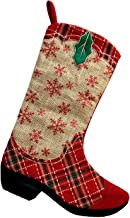 Monogrammed Me Christmas Stocking, Red Plaid Burlap Cowboy Boot