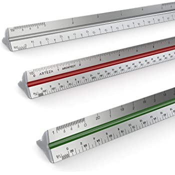 "Arteza 12"" Triangular Architect Scale Aluminum Color-Coded Grooves (Imperial)"
