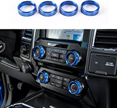 Thenice Aluminum Alloy Car Inner Air Conditioner Audio Volume Switch Knob Ring AC Media Button Cover Trim Bezel for Ford F150 XLT 2016 2017 2018 (Blue)