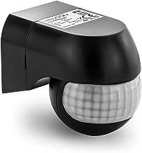 deleyCON 1x Infrarot Bewegungsmelder - für Innen und Außen - Reichweite bis 12m bei 180° - Dreh-/Neigbar - IP44 - Spritzwasserschutz - Schwarz