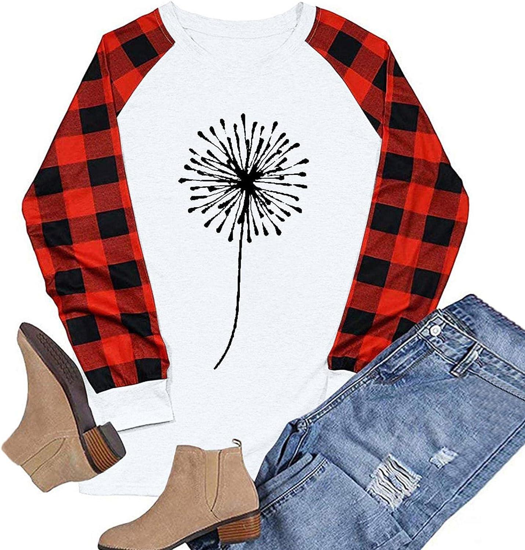 Modaworld Womens Fall Shirts Halloween Tshirts Long Sleeve Crewneck Sweatshirts Plaid Print Graphic Tee Cute Blouses Tops