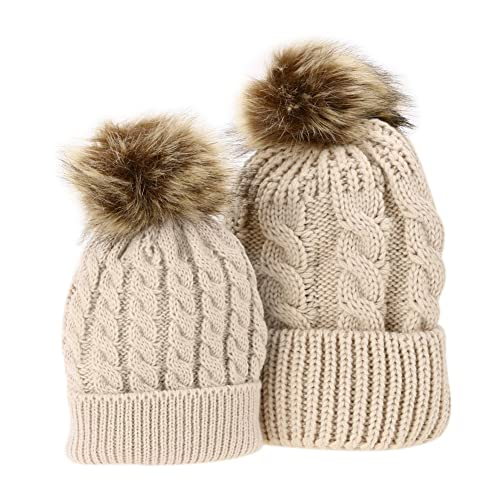 Domybest 2 Pcs Mother   Baby Daughter Son Winter Warm Hat Cap Cotton  Knitted Bobble 691943816a9