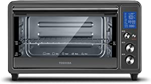 Toshiba Digital Toaster Oven with Double Infrared Heating and Speedy Convection, Larger 6-slice/12-inch Capacity, 1700W, 10 Functions and 6 Accessories Fit All Your Needs (Renewed)