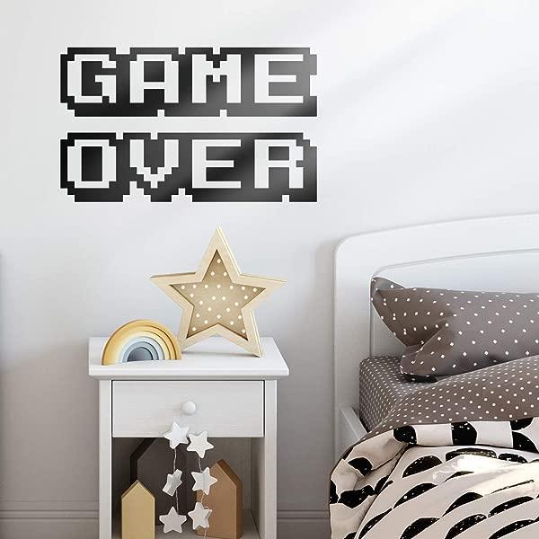 Vinyl Wall Art Decal Game Over 12 X 20 Cool Old School Home Playroom Bedroom Living Room Kids Room Nursery Fun Gamers Decals For Indoor Outdoor Apartment Dorm Room 12 X 20 Black