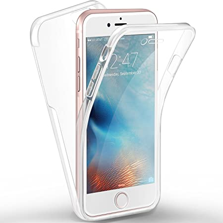 AROYI Compatible iPhone 6S Plus Coque Transparent Premium TPU Silicone Souple Avant et Arrière PC Rigide Intégral 360 Degres Full Body Protection ...