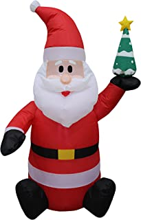 4 Foot Tall Lighted Christmas Inflatable Santa Claus holding Christmas Tree Indoor Outdoor Party Yard Decoration