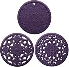 Set of 3 Silicone Trivet Mats, Multi-Use Intricately Carved Hot Pot Trivets for Hot Dishes, Kitchen Mats, Table Mats, Flex...