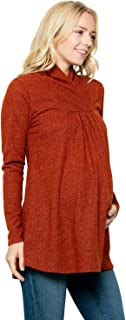 My Bump Maternity Knit Sweater - High Neck Shawl Collar Long Sleeves Tunic Pullover Top Made in USA