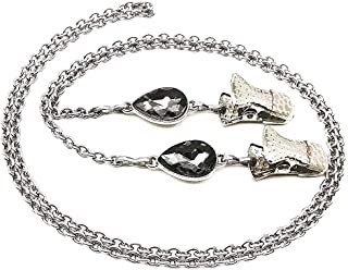 Water Drop Crystal Eyeglasses Holder Women Stainless Steel Chain Glasses Lanyard Clip Strap
