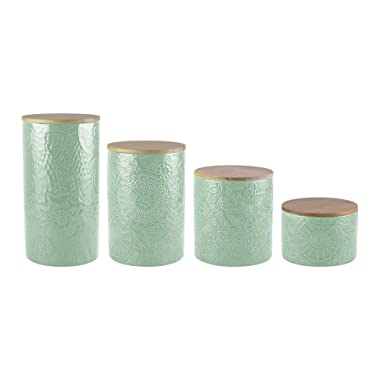 American Atelier Embossed Canister Set 4-Piece Ceramic Set Jar Container with Wooden Lids for Cookies, Candy, Coffee, Flour, Sugar, Rice, Pasta, Cereal & More Sage