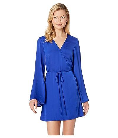 Cupcakes and Cashmere Kaidence Satin Wrap Dress (Cobalt) Women