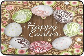 JSTEL Nonslip Door Mat Home Decor, Happy Easter Rainbow Eggs Durable Indoor Outdoor Entrance Doormat 23.6 X 15.7 Inches
