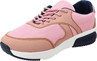 Roadwalker Faux Leather & Mesh Contrast Lining Two-Tone Sole Lace-Up Sneakers for Women