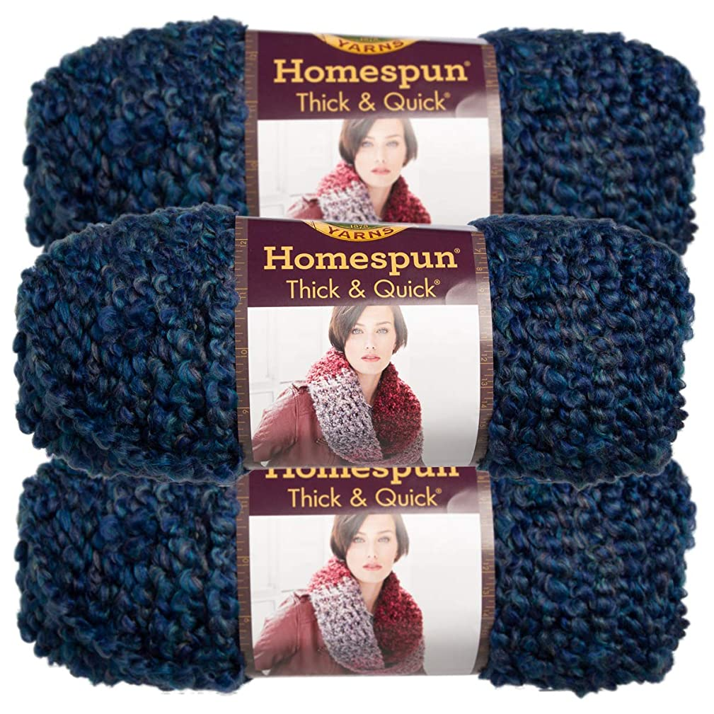 Lion Brand (3 Pack) Homespun Thick & Quick Acrylic & Polyester Soft Colonial Blue Yarn for Knitting Crocheting Super Bulky #6