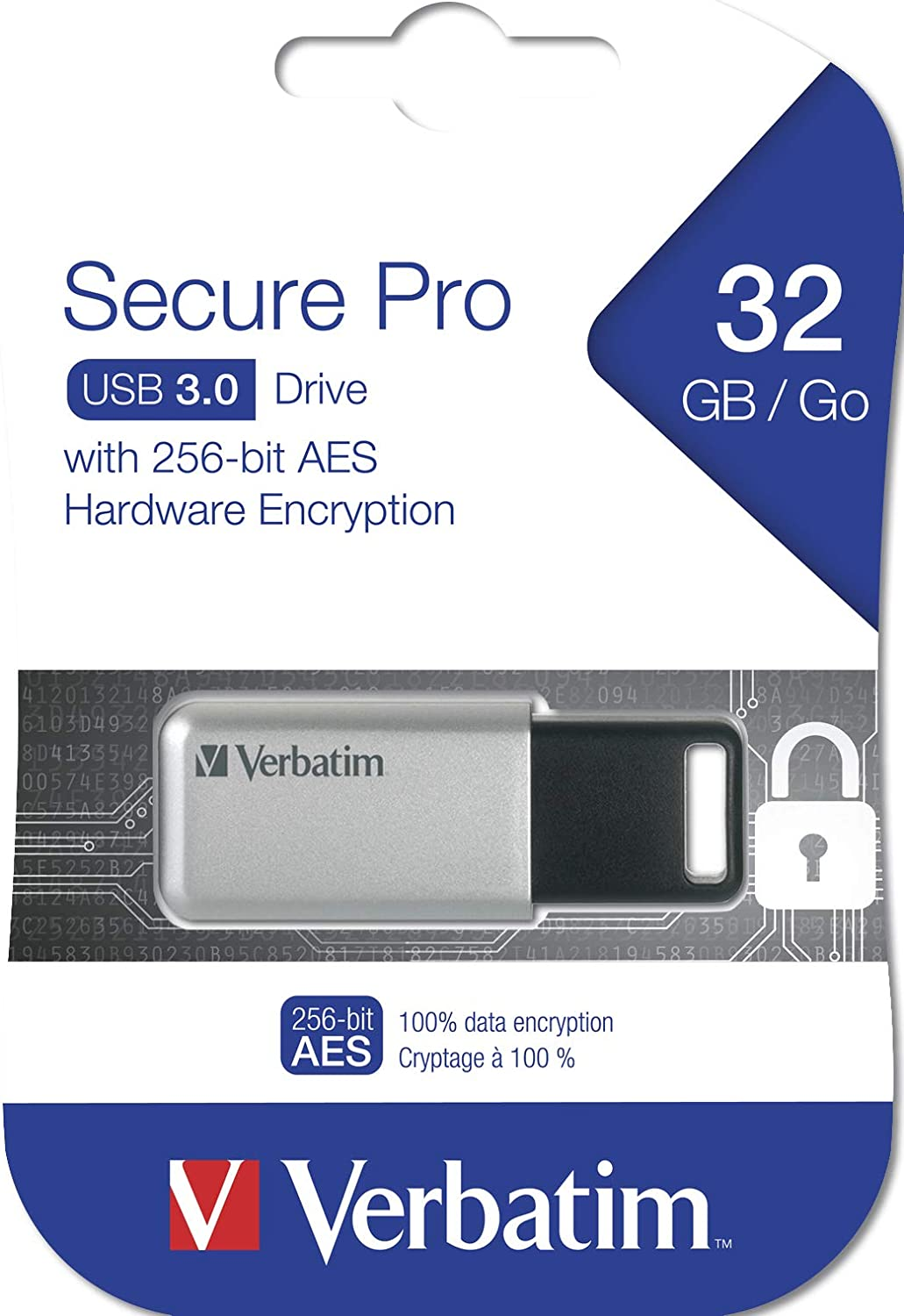 Silver Verbatim 32GB Storen Go Secure Pro USB 3.0 Flash Drive with AES 256 Hardware Encryption