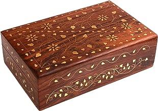 Khandekar Wooden Handmade Jewelry Box Ideal for Women/Girls Jewelry Organizer with Brass Inlay Design Jewelry Case