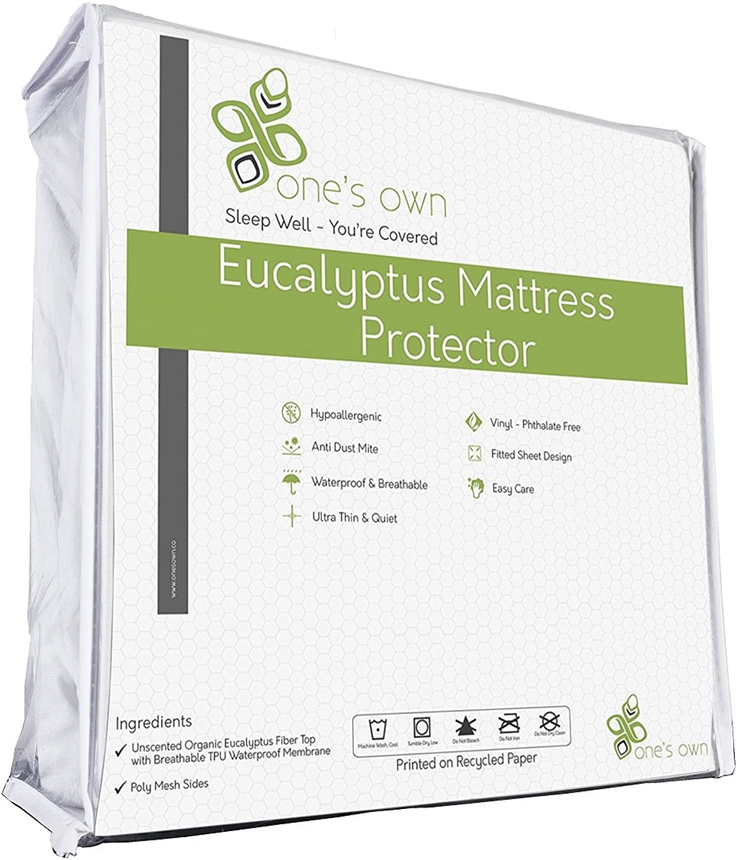 One's Own Mattress Predector, Renewable Organic Tencel Eucalyptus Fiber Top, TPU Waterproofing, Hypoallergenic, Five-Sided, White, King