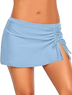 Utyful Women's Elastic Mid Waist Side Slit Pull Tie Swim Skirt Swimsuit Bottom