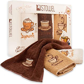 """ISTOWEL Decorative Kitchen Towels Set – 12"""" x 20"""" Cotton Terry Dish Towels for Drying Dishes and Blotting Spills – Coffee Themed Embroidery for Your Kitchen Decor (Set of 3)"""