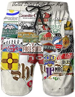 Man's Quick Dry Board Shorts USA Craft Beer Map Swim Surf Trunks with Pockets