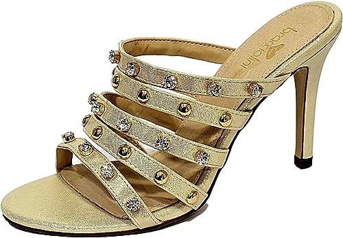 Braccialini Chaussures Sandales B2019 Couleur or avec avec Strass Talon 10 cm Pointure 36  contre authentique
