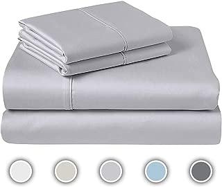 COZERI 600 Thread Count Luxury Sheet Set, 100% Cotton, Z Hem, Soft & Silky Sateen Weave, Fits Mattress Upto 17