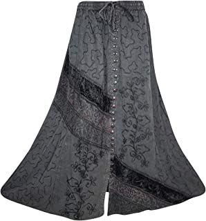 Mogul Interior Womens Black Maxi Skirt Button Down Embroidered Enzyme Wash Bohemian Flare Skirt S/M