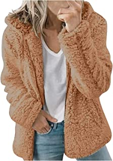 LHHZAL - Abrigo de invierno con capucha para mujer, color sólido, abrigo de peluche, cálido, manga larga, con cremallera, ...