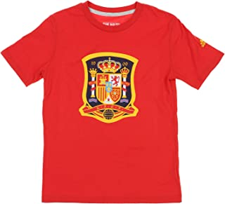 Spain National Futbol Team Crest Logo On The Go Short Sleeve T-Shirt, Red