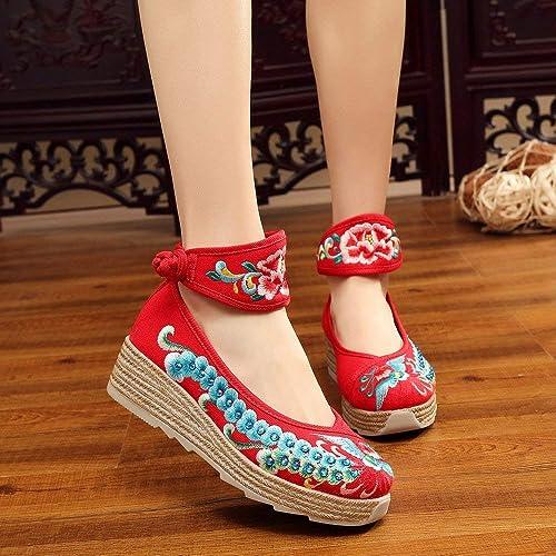 Fuxitoggo zapatos Bordados, Lino, Suela de tendón, Estilo étnico, zapatos Femeninos aumentados, Moda, cómodo, Casual, rojo, 37 (Color   -, tamaño   -)