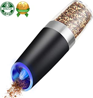 Electric Pepper Grinder or Salt Mill Spice Tall Power Shaker, Gravity Control Battery Powered With Blue LED Light, Adjustable Ceramic Coarseness (Black)