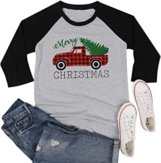 MAXIMGR Plus Size Merry Christmas T-Shirt for Women Plaid Truck Graphic 3/4 Sleeve Raglan Tops Tees Shirt