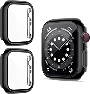ZEBRE 2 Pack Case with Glass Screen Protector Compatible with Apple Watch SE/Series 6 / Series 5 / Series 4 40mm/44mm (44mm, Black/Black)