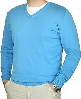 Cashmere Zone Maglione Uomo Scollo a V in Puro Cotone 100% Pullover a Manica Lunga Soffice e Morbido