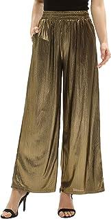 GRACE KARIN Women's Casual Loose Elastic Shiny Pocket Wide Leg Pants Flared Trousers