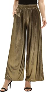 GRACE KARIN Women's Casual Loose Elastic Shiny Pocket Wide Leg Pants Flared Trousers