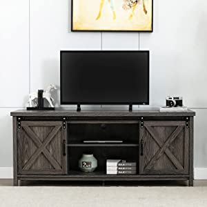 AUXSOUL Farmhouse TV Stand for 65 Inch Flat Screen - Wooden Entertainment Center with 2 Sliding Barn Doors - Storage Cabinet TV Console for Living Room(Grey)