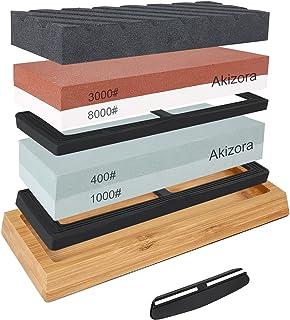 Akizora 砥石 包丁研ぎ石 400 1000 3000 8000 両面砥石 2点セット 竹製滑り止め台付き 面直し付き 角度固定ホルダー付き 家庭用中砥石 仕上砥石 包丁 仕上げに最適