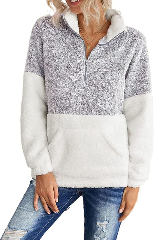 Linsery Women's Half Zipper Colorblock Sherpa Fleece Pullover Tops Fuzzy Sweatshirt With Pocket Winter