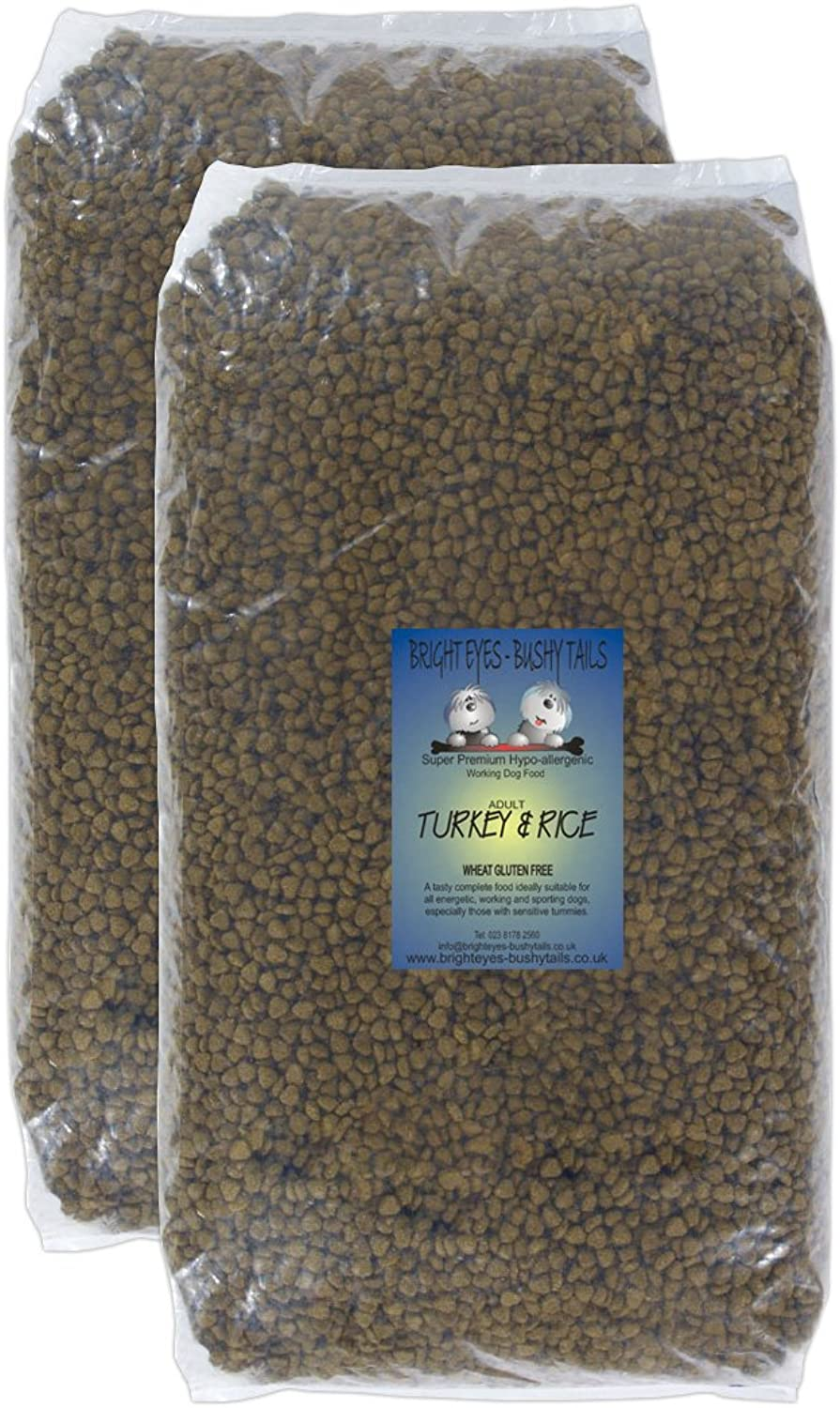 BEST Turkey & Rice Super Premium Hypoallergenic dog food from Bright Eyes  Bushy Tails. 2x15Kg bags. Wheat and wheat gluten free, no artificial flavours, colourants or preservatives. Yummy, fully balanced and complete. Easily digestible and gentle on all