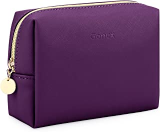Gonex Travel Makeup Bag Small Leather Cosmetic Pouch Waterproof Toiletry Bag Women Portable Daily Storage Organizer Dark Purple