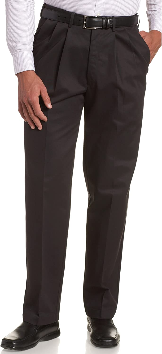 Haggar Men's Work To Weekend No Iron Twill Pleat Front Pant - Regular and Big & Tall Sizes