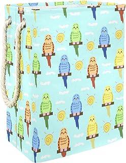Vockgeng Oiseaux colorés Accueil Organisation Panier de Rangement imperméable Pliable de Jouets de Jouets de Panier avec d...