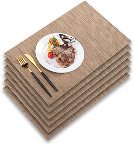 PABUSIOR Placemat, Woven Vinyl Placemats for Dining Table Washable, Easy to Clean Non-Slip Place Mats for Kitchen Tab...