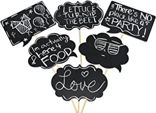 Wedding Photo Booth Props - Large Chalkboard Sign, Wooden, 6 pc set, Black, Party Prop, Custom, Personalized, Adult, Great For a Wedding, Luau, Birthday, Bachelorette, Retirement, or Graduation Event